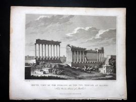Clarke C1820 Antique Print. Remains of the Two Temples at Balbec, Lebanon